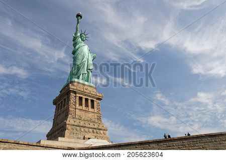 New York City, Usa, September 12, 2017 : The Statue Of Liberty, A Colossal Neoclassical Sculpture On