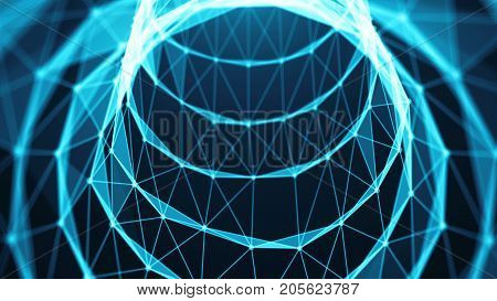 Journey in data tunnel. Speed motion inside fibre optic cable. Abstract background. 3d rendering