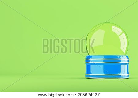 Empty blue snow globe on bright green background with copy space. 3d rendering