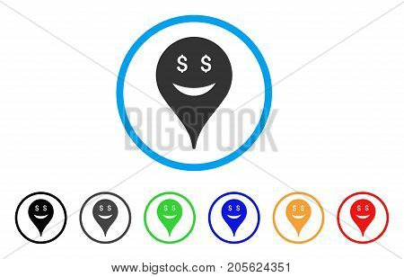 Business Smiley Map Marker rounded icon. Style is a flat business smiley map marker gray symbol inside light blue circle with black, gray, green, blue, red, orange variants.
