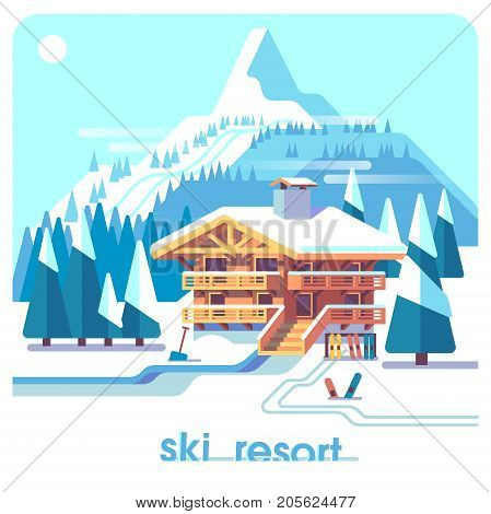 Ski resort mountain detailed landscape with lodge, trees and ski tracks. Winter sports vacation. Flat illustration concept background.