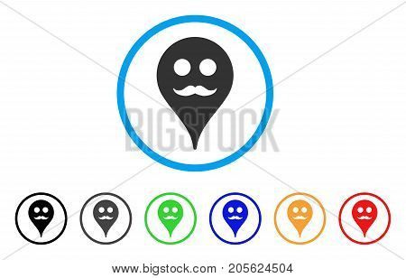 Gentleman Smiley Map Marker rounded icon. Style is a flat gentleman smiley map marker gray symbol inside light blue circle with black, gray, green, blue, red, orange variants.