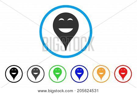 Happy Smiley Map Marker rounded icon. Style is a flat happy smiley map marker gray symbol inside light blue circle with black, gray, green, blue, red, orange color versions.