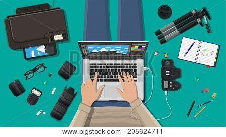 Workspace of freelance photographer. Laptop pc, printer. Photo camera, flash, lens and memory card. Professional device for photography. Digital photos and printing. Vector illustration in flat style