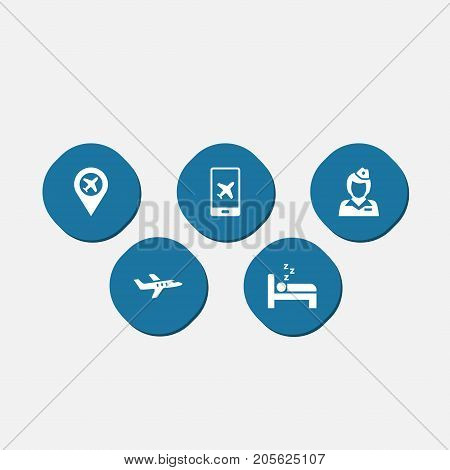 Collection Of Electron Payment, Sleep, Pinpoint And Other Elements.  Set Of 5 Airplane Icons Set.
