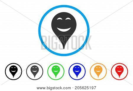Pleasure Smiley Map Marker rounded icon. Style is a flat pleasure smiley map marker gray symbol inside light blue circle with black, gray, green, blue, red, orange versions.