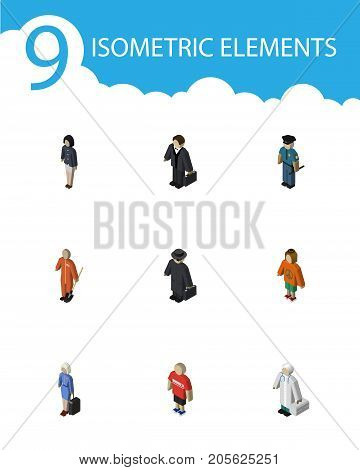 Isometric Human Set Of Hostess, Guy, Detective And Other Vector Objects
