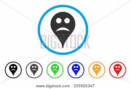 Sad Smiley Map Marker rounded icon. Style is a flat sad smiley map marker gray symbol inside light blue circle with black, gray, green, blue, red, orange color versions.