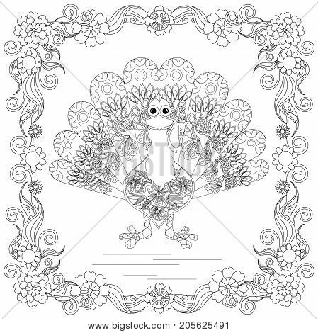 Doodle style sketch of turkey in floral frame, thin black line on white stock vector illustration