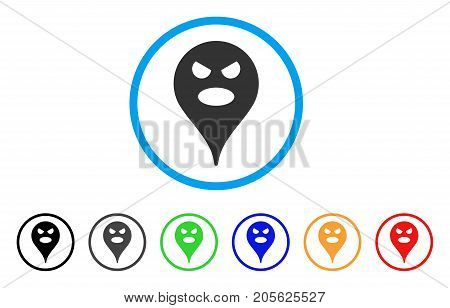 Scream Smiley Map Marker rounded icon. Style is a flat scream smiley map marker gray symbol inside light blue circle with black, gray, green, blue, red, orange versions.