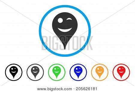 Wink Smiley Map Marker rounded icon. Style is a flat wink smiley map marker grey symbol inside light blue circle with black, gray, green, blue, red, orange color versions.
