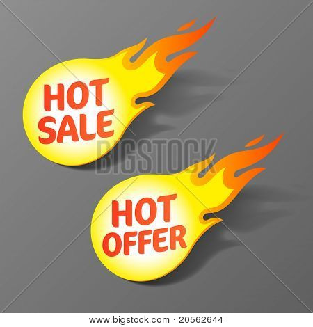 Hot sale and hot offer tags. Vector.