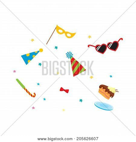 vector flat cartoon party symbols set. heart-shaped glasses, party hats, mask, bowtie piece of cake and confetti. Isolated illustration on a white background.