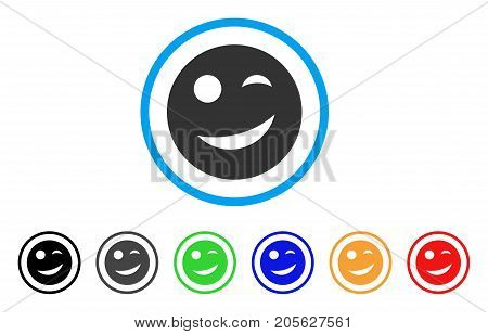Joy Smiley icon. Vector illustration style is a flat iconic joy smiley symbol with black, grey, green, blue, red, orange color variants. Designed for web and software interfaces.