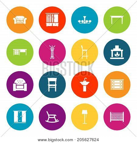 Collection Of Chair, Rocking Furniture, Commode And Other Elements.  Set Of 16 Set Icons Set.