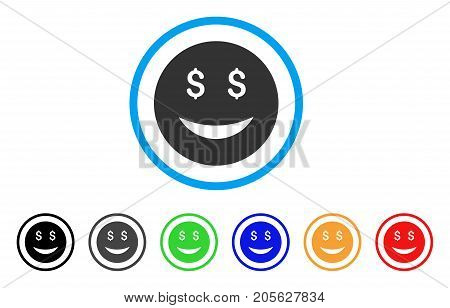 Luck Dollar Smiley icon. Vector illustration style is a flat iconic luck dollar smiley symbol with black, grey, green, blue, red, orange color additional versions.