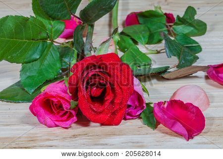 leaf of rosepink roses and red rose flowers in the pinewood table