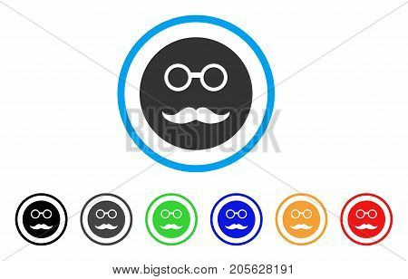Pension Smiley icon. Vector illustration style is a flat iconic pension smiley symbol with black, gray, green, blue, red, orange color variants. Designed for web and software interfaces.