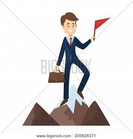 Man with red flag on the mountain.