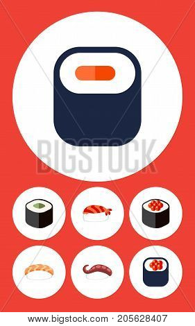 Flat Icon Salmon Set Of Maki, Salmon Rolls, Japanese Food And Other Vector Objects