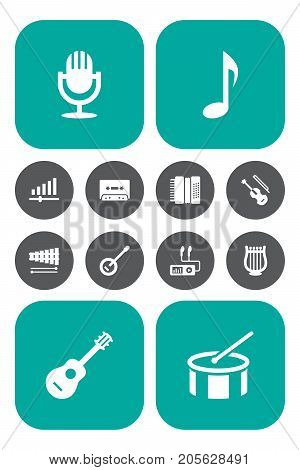 Collection Of Banjo, Karaoke, Harmonica And Other Elements.  Set Of 12 Melody Icons Set.