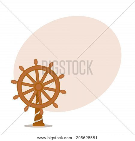 Ship, sailboat steering wheel with place for text, cartoon vector illustration isolated on white background. Cartoon vector illustration of wooden ship, sailboat steering wheel with place for text