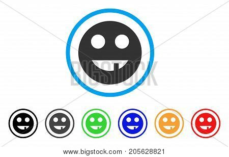 Tooth Smiley icon. Vector illustration style is a flat iconic tooth smiley symbol with black, grey, green, blue, red, orange color versions. Designed for web and software interfaces.