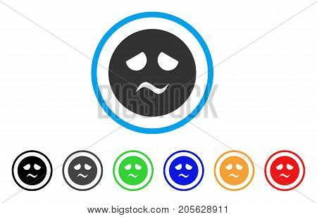 Trouble Smiley icon. Vector illustration style is a flat iconic trouble smiley symbol with black, grey, green, blue, red, orange color additional versions. Designed for web and software interfaces.