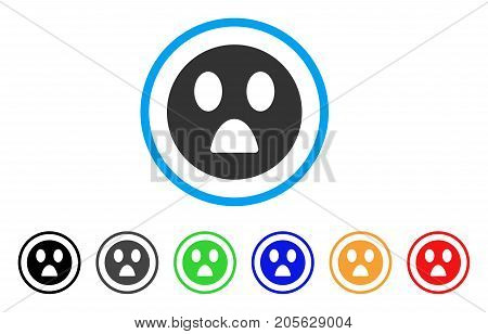 Wonder Smiley icon. Vector illustration style is a flat iconic wonder smiley symbol with black, grey, green, blue, red, orange color variants. Designed for web and software interfaces.