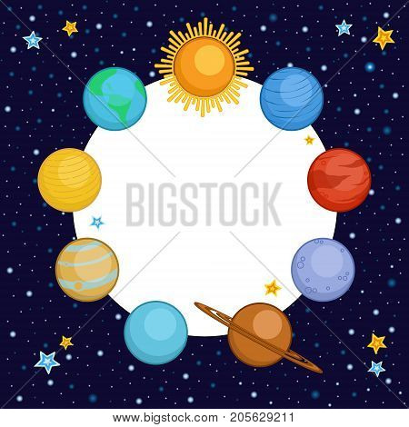 Planets of solar system in outer space with round place for text, cartoon style vector illustration. Cute cartoon style planets - Sun, Mercury, Venus, Earth, Mars, Saturn, Jupiter, Uranus, Neptune