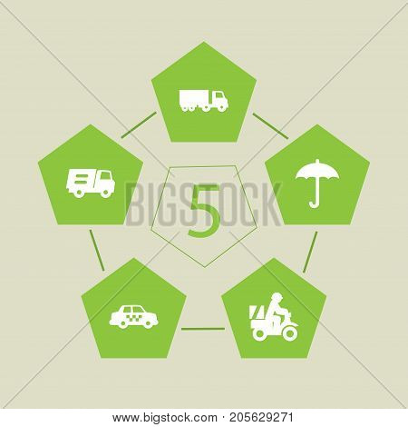Collection Of Lorry, Truck, Cab And Other Elements.  Set Of 5 Shipment Icons Set.