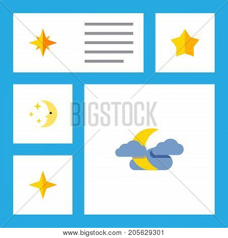 Flat Icon Bedtime Set Of Asterisk, Midnight, Star And Other Vector Objects