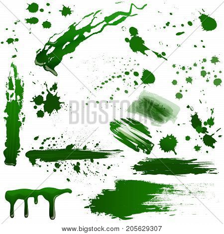 Realistic green toxic blood splatters vector set. Splash poison liquid isolated