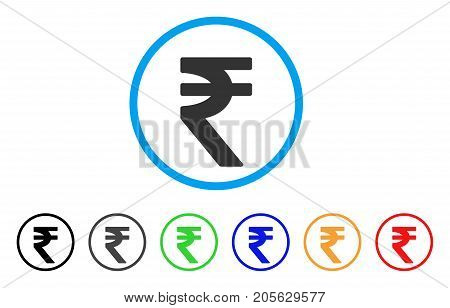 Indian Rupee icon. Vector illustration style is a flat iconic indian rupee symbol with black, grey, green, blue, red, orange color versions. Designed for web and software interfaces.