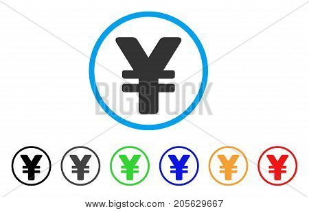 Japanese Yen icon. Vector illustration style is a flat iconic Japanese yen symbol with black, grey, green, blue, red, orange color additional versions. Designed for web and software interfaces.