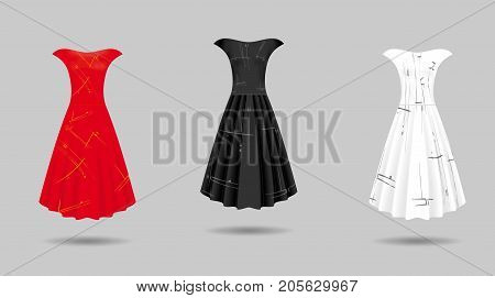 Women's dress mockup collection. Dress with long pleated skirt. Realistic vector illustration