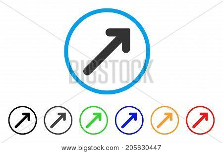 Arrow Up Right icon. Vector illustration style is a flat iconic arrow up right symbol with black, gray, green, blue, red, orange color variants. Designed for web and software interfaces.