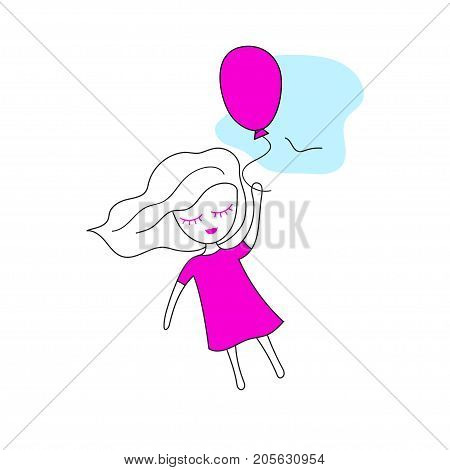 Little girl in pink dress flying on balloon. Dreamer. Vector illustration.