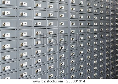 Post office boxs or the wall of small lockers