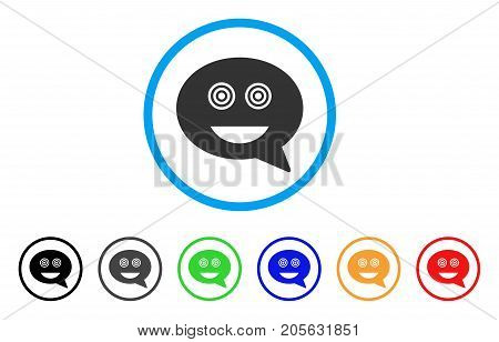 Crazy Smiley Message icon. Vector illustration style is a flat iconic crazy smiley message symbol with black, grey, green, blue, red, orange color variants. Designed for web and software interfaces.