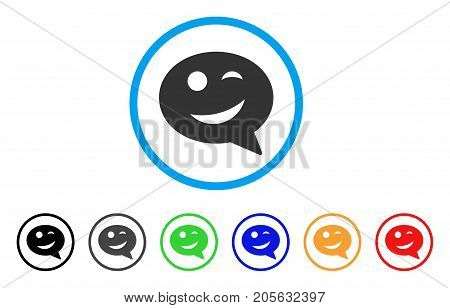 Joke Smiley Message icon. Vector illustration style is a flat iconic joke smiley message symbol with black, grey, green, blue, red, orange color additional versions.