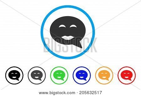 Lady Pleasure Smiley Message icon. Vector illustration style is a flat iconic lady pleasure smiley message symbol with black, grey, green, blue, red, orange color variants.