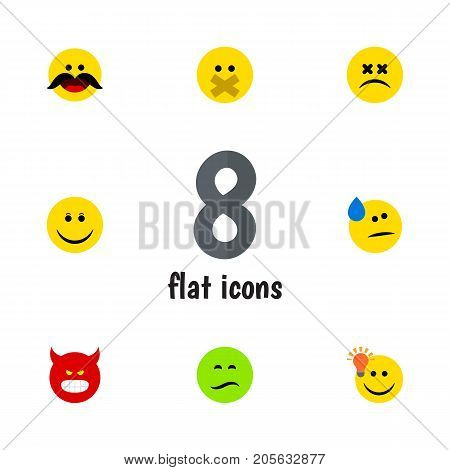 Flat Icon Face Set Of Frown, Joy, Cross-Eyed Face And Other Vector Objects