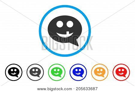 Tooth Smiley Message icon. Vector illustration style is a flat iconic tooth smiley message symbol with black, gray, green, blue, red, orange color versions. Designed for web and software interfaces.
