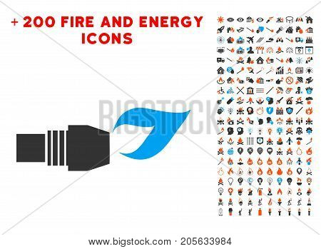 Gas Burner Nozzle Fire pictograph with bonus energy pictograms. Vector illustration style is flat iconic symbols for web design, app ui.