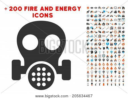 Gas Mask icon with bonus fire icon set. Vector illustration style is flat iconic elements for web design, app user interface.