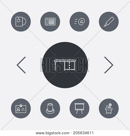 Collection Of Flowerpot, Desk, Marker And Other Elements.  Set Of 9 Bureau Outline Icons Set.