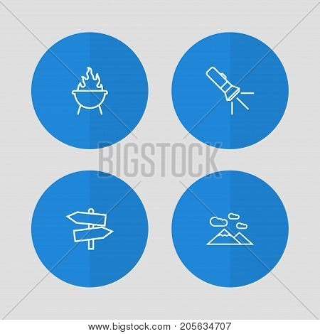 Collection Of Guidepost, Mountains, Pocket Torch And Other Elements.  Set Of 4 Picnic Outline Icons Set.