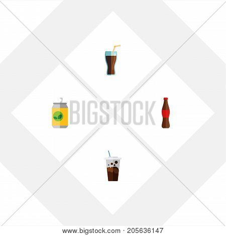 Flat Icon Beverage Set Of Juice, Fizzy Drink, Beverage And Other Vector Objects