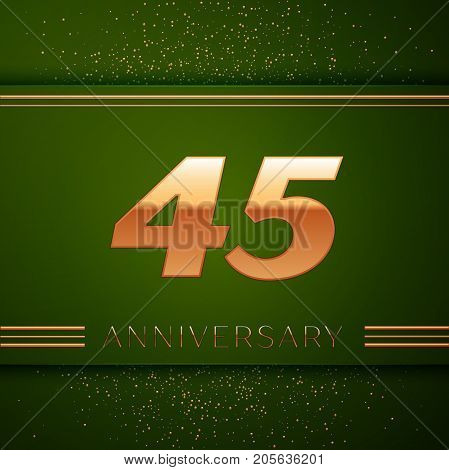 Realistic Forty five Years Anniversary Celebration Logotype. Golden numbers and golden confetti on green background. Colorful Vector template elements for your birthday party